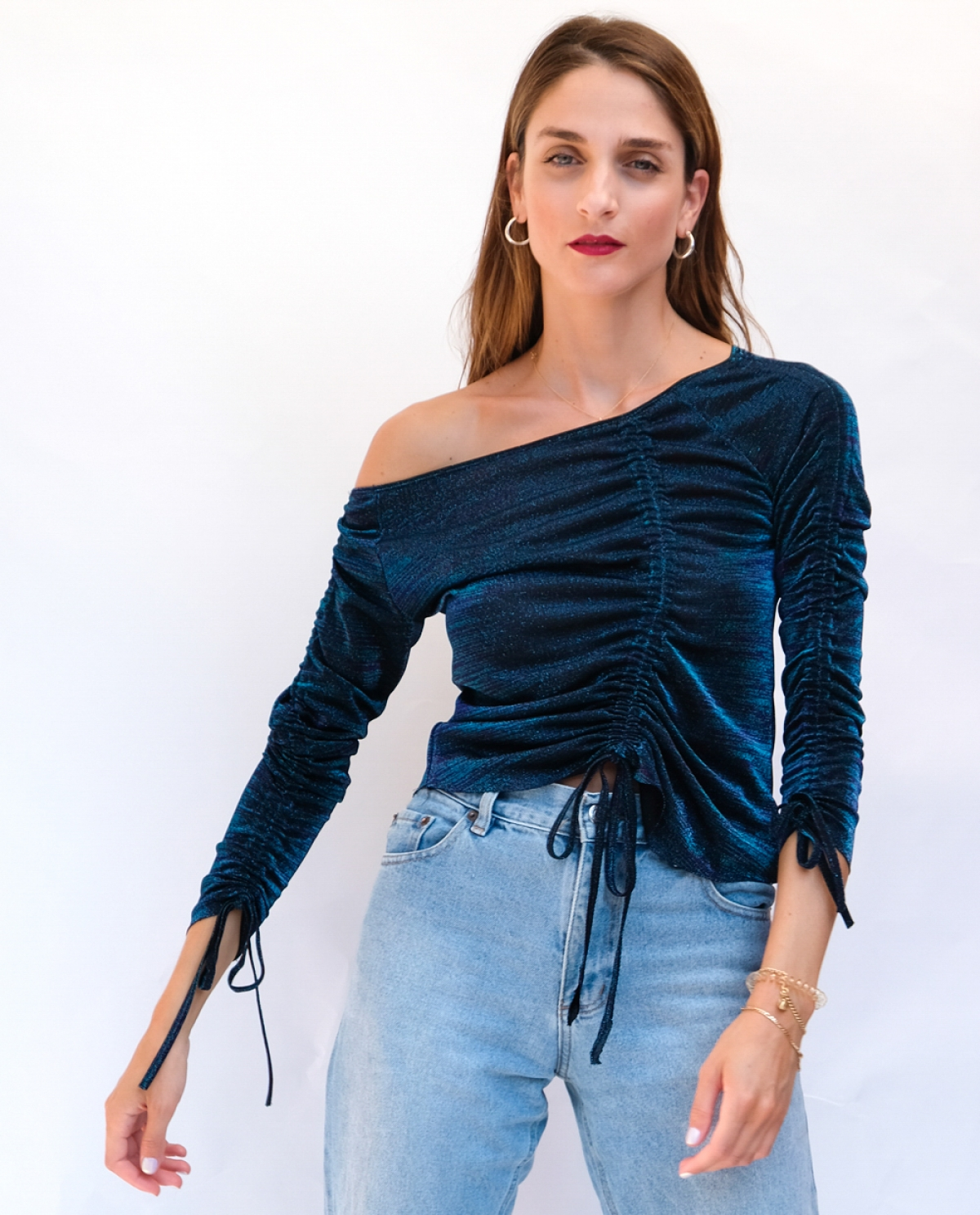 Hector Off-The-Shoulder Blue Top