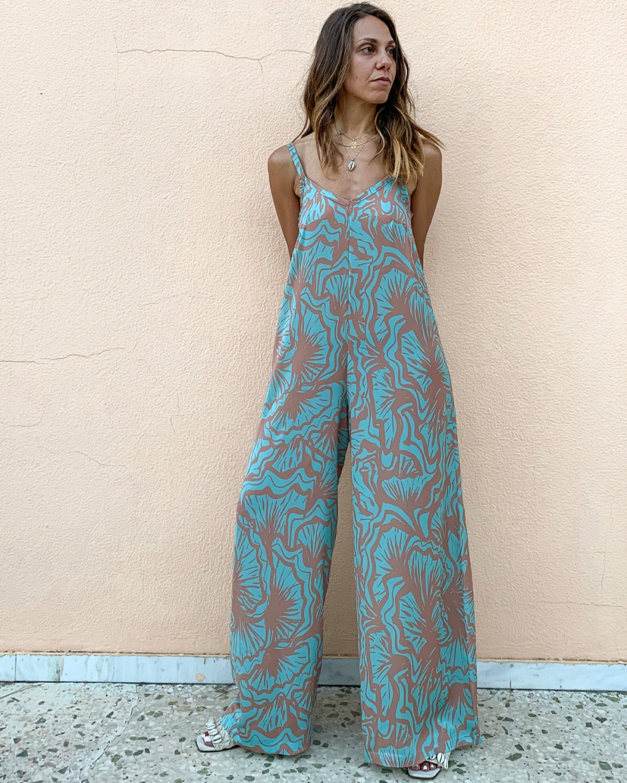 Helia Turquoise Loose Jumpsuit