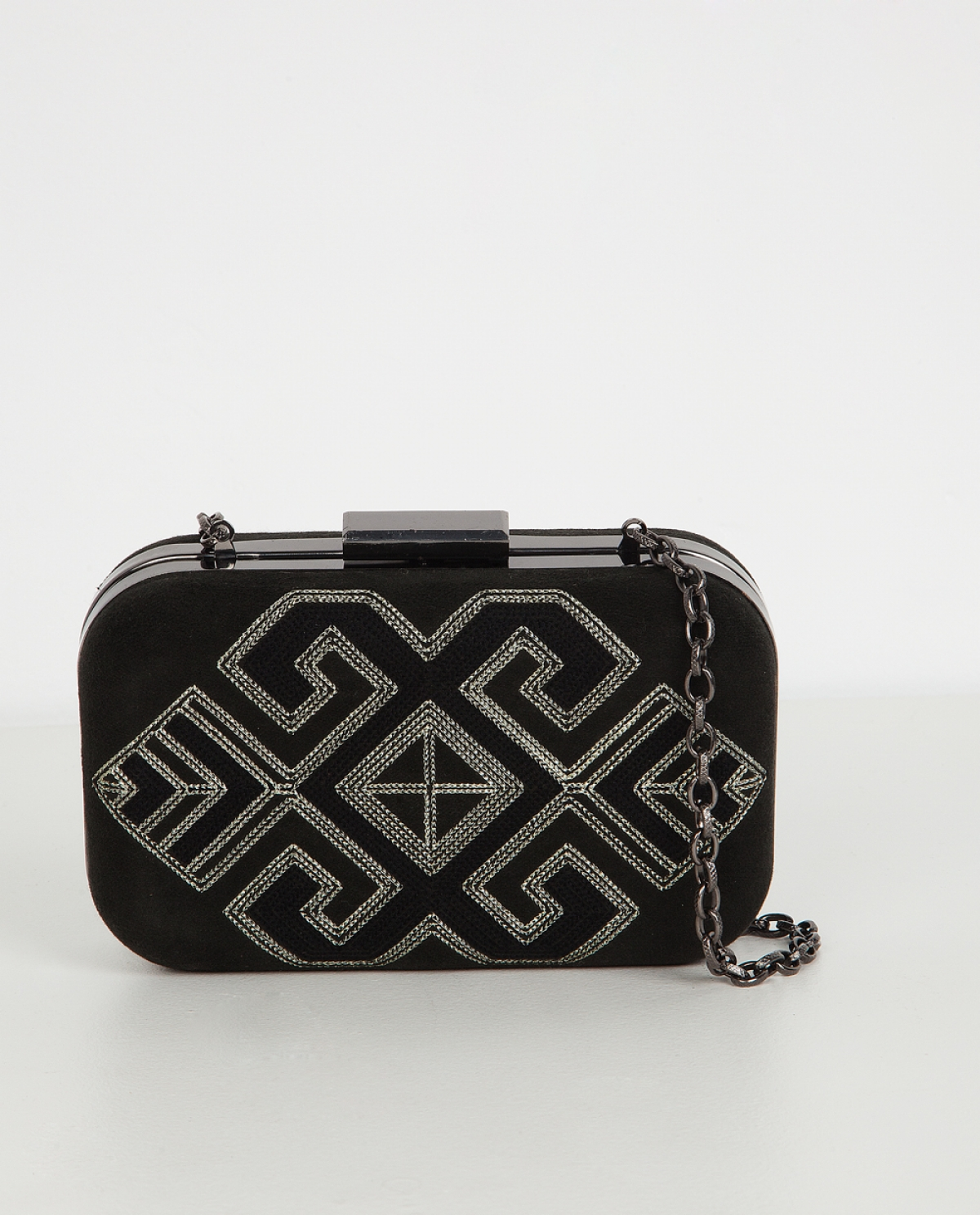 Hermes Embroidered Velvet Clutch