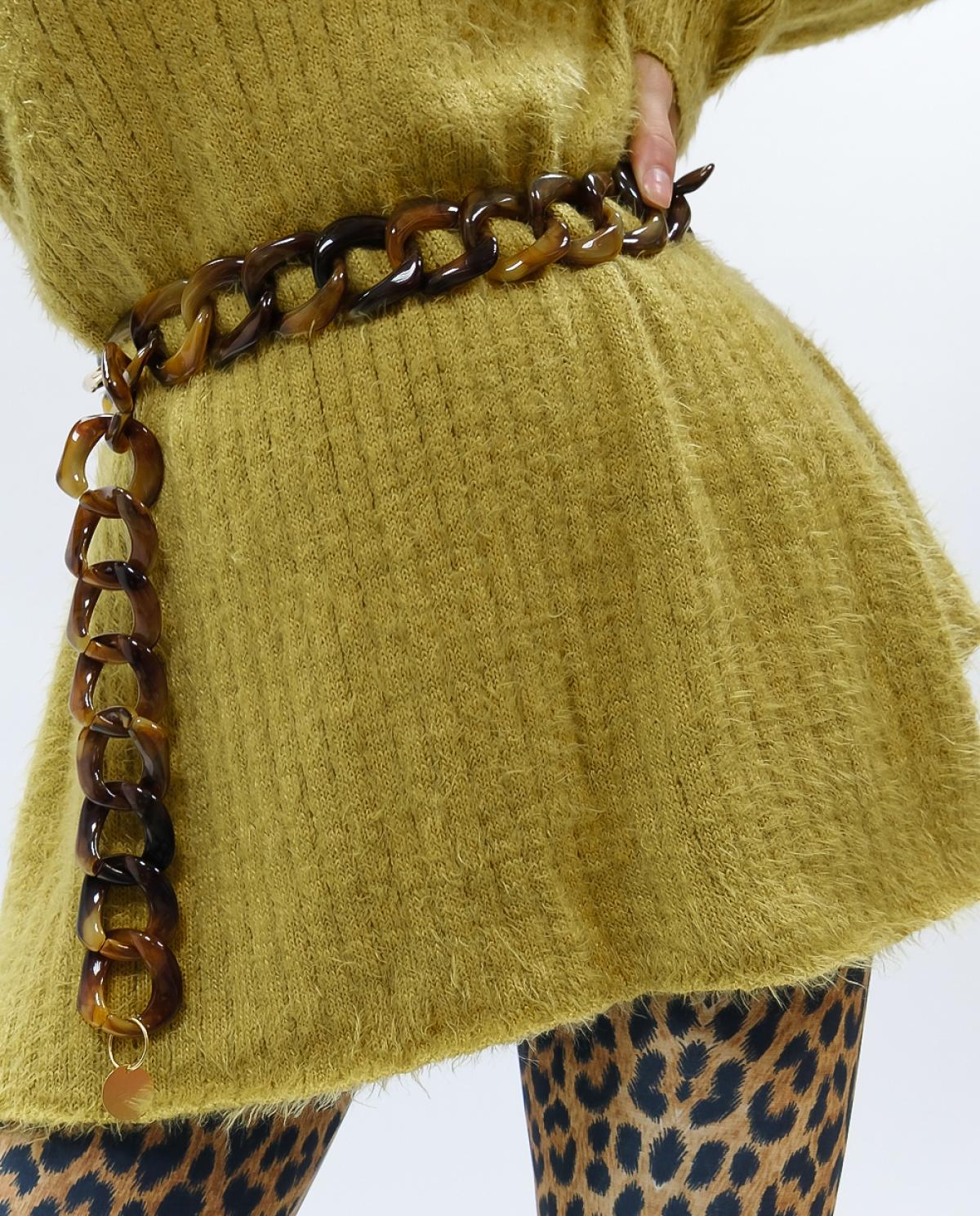 Honey Marble Resin Chain Belt