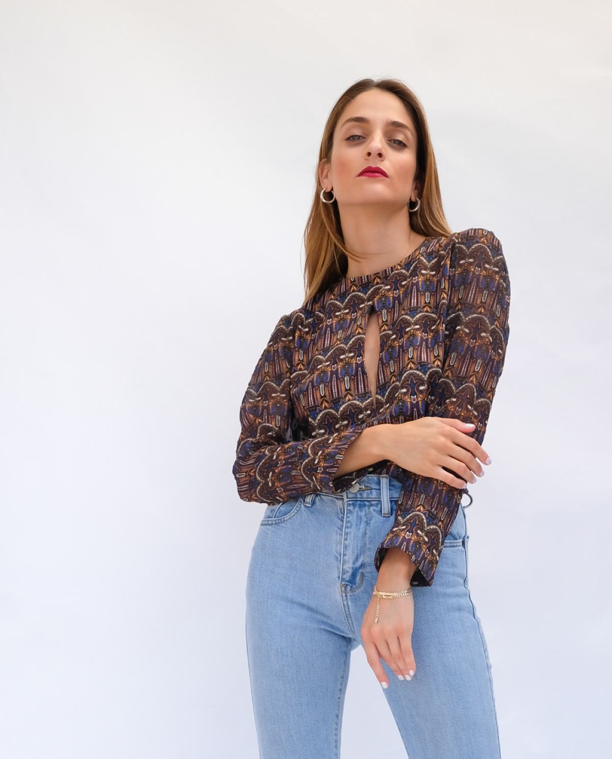 Indigo Printed Viscose Blouse