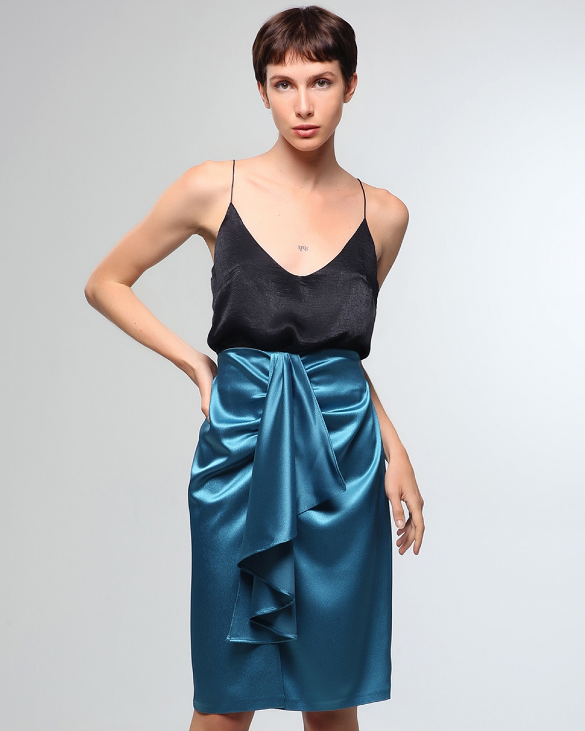 Indigo Satin Skirt