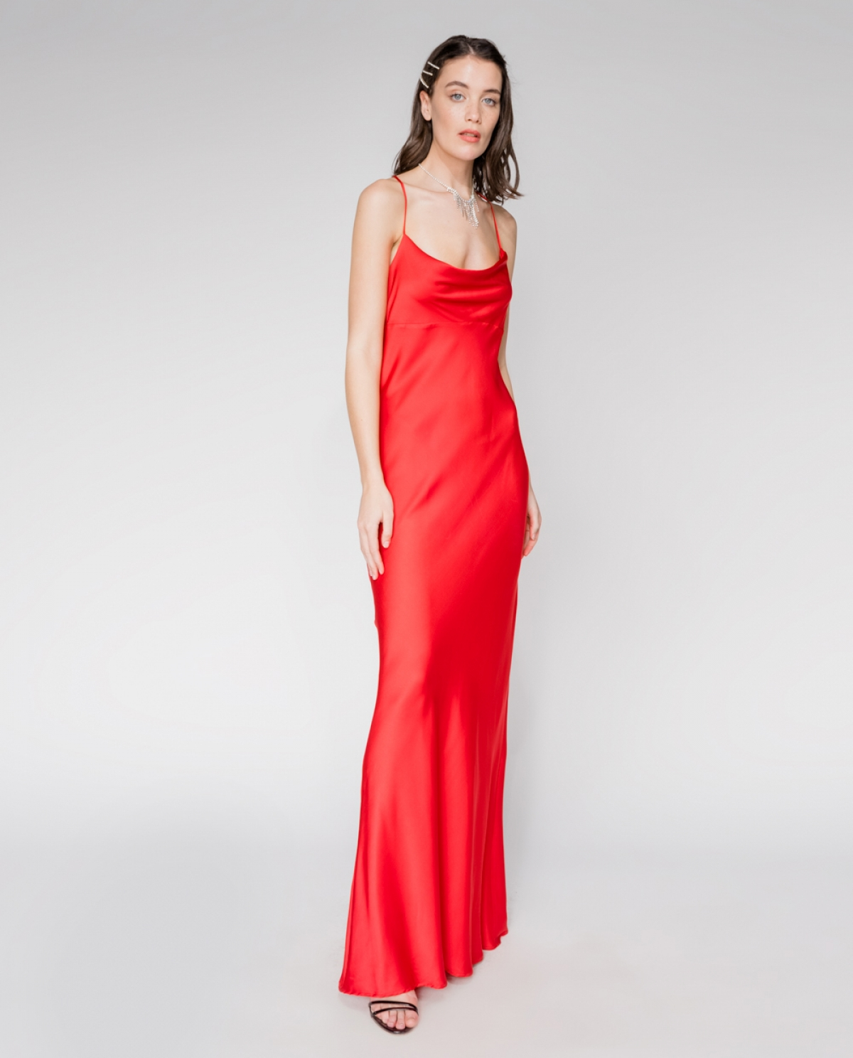 INY Satin Maxi Red Dress