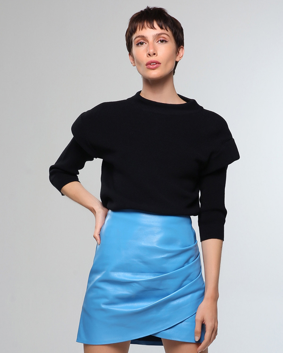 Ivy Knitted Black Blouse