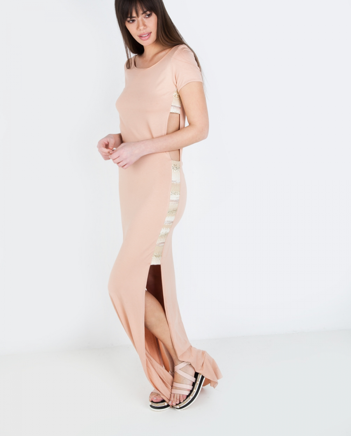 Jacquard Cutout Jersey Long Dress
