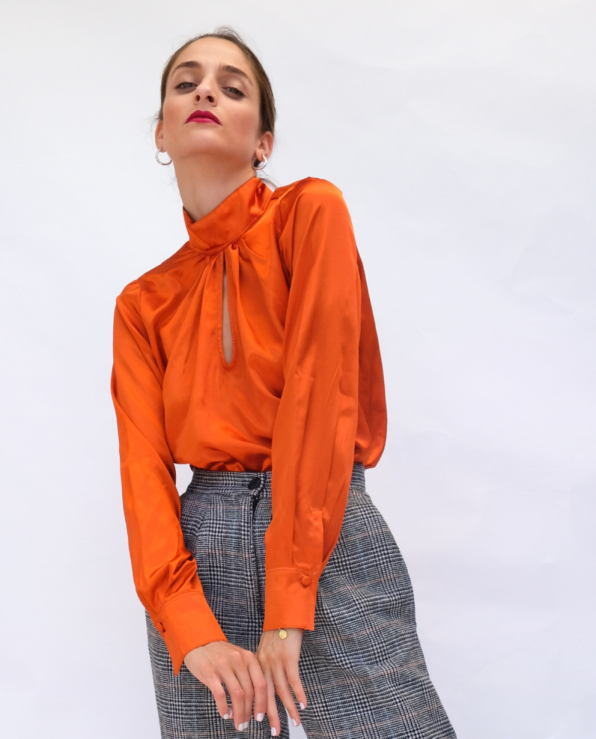 Jane Satin Orange Top