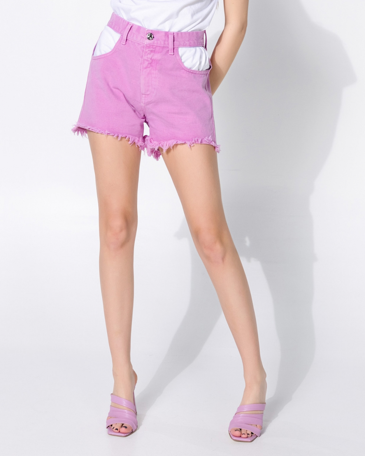 Jean Pink Shorts With Gaps