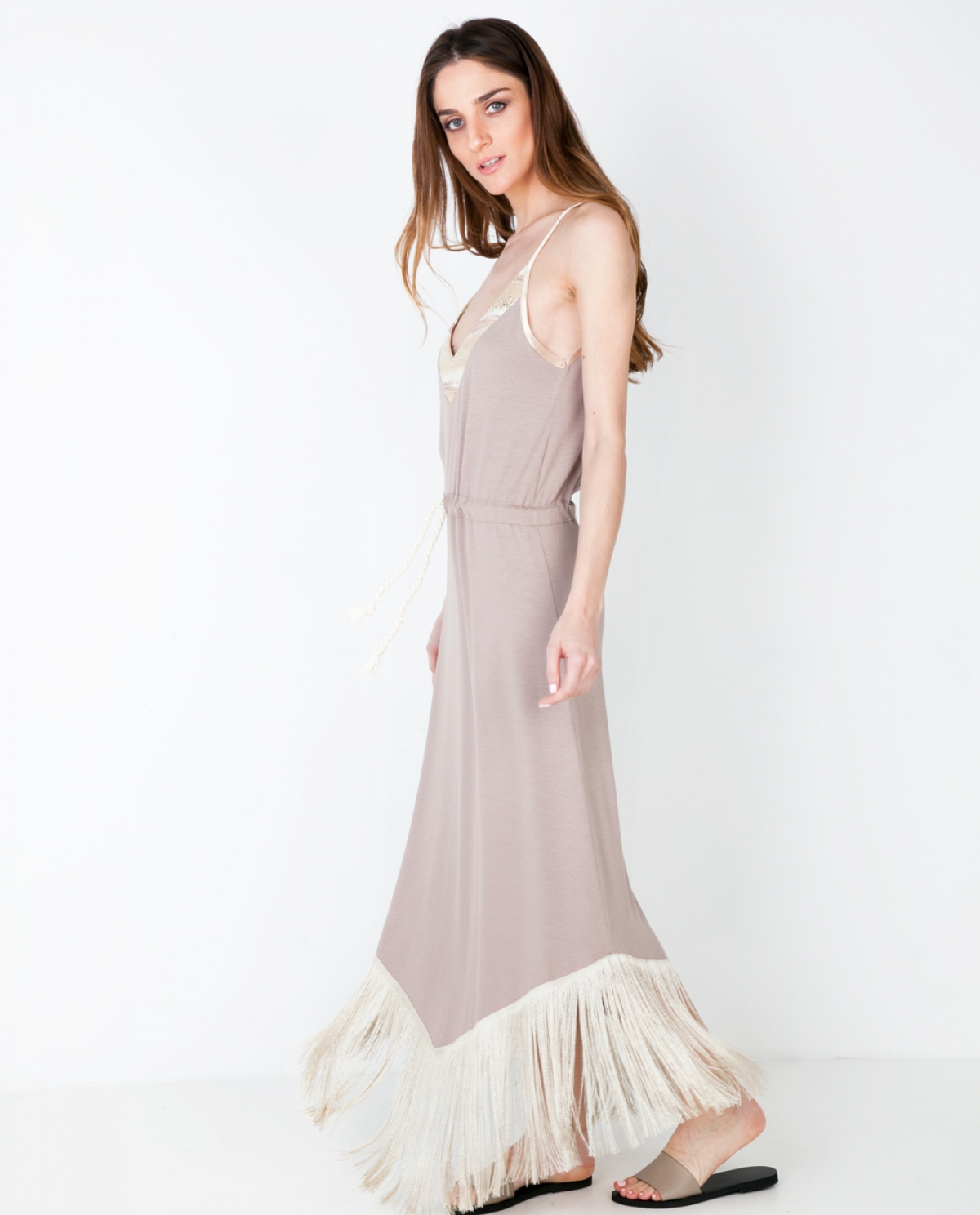 Jersey Fringed Maxi Dress - Fashionnoiz