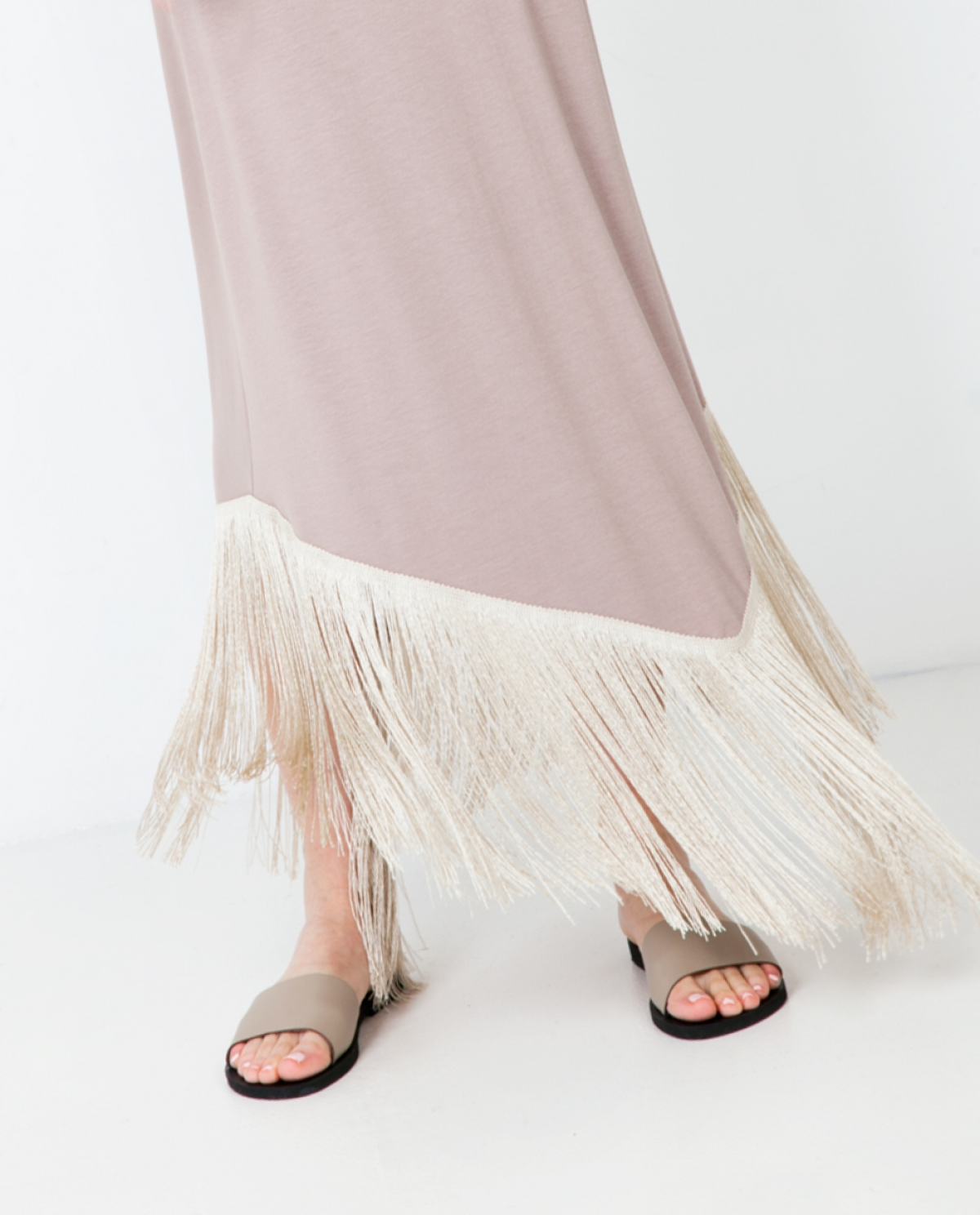 Jersey Fringed Maxi Dress