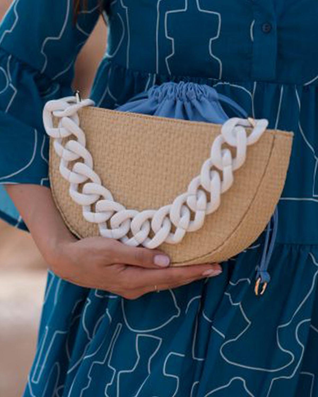 Kallisti Natural Blue Straw Bag