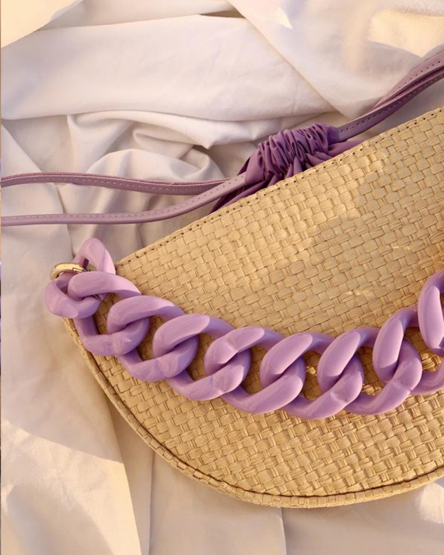 Kallisti Natural Lilac Straw Bag