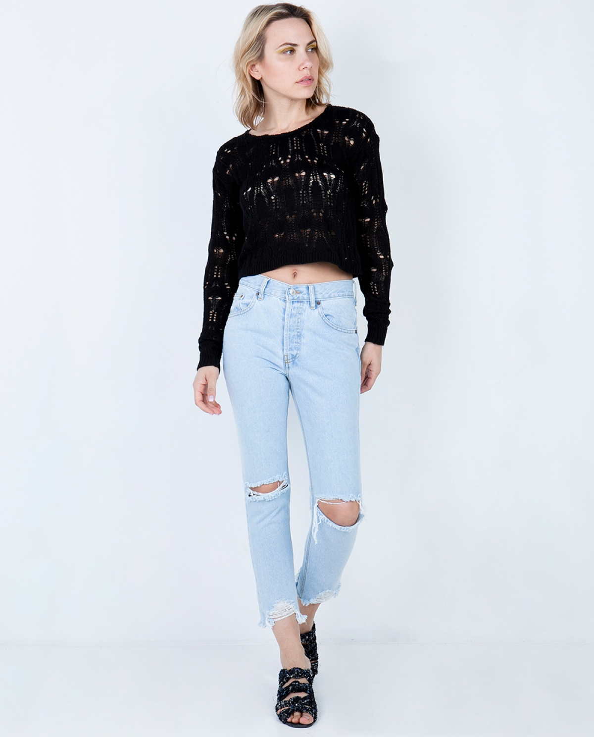 Kelly Bleached Ripped Cropped Jeans