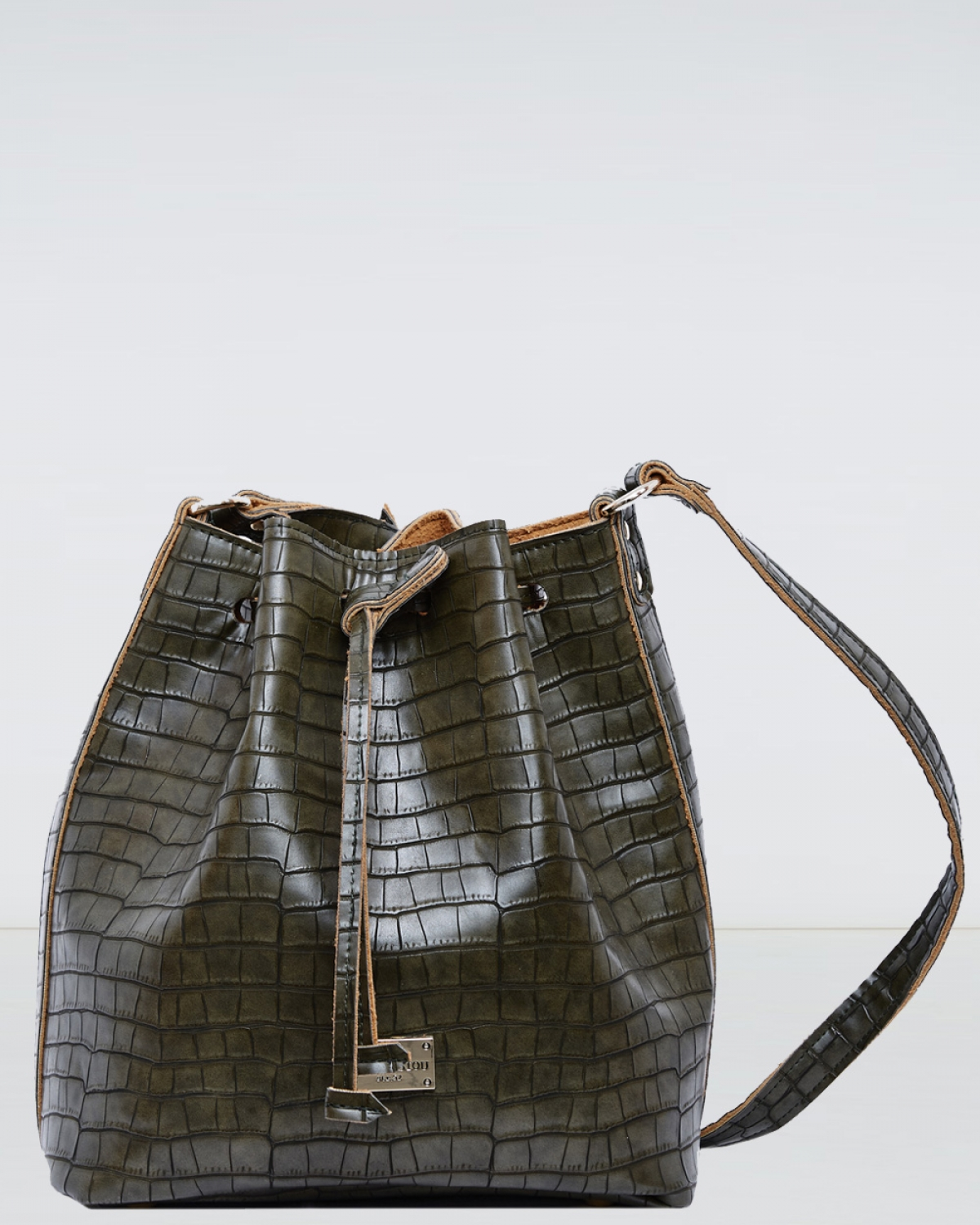 Khaki Croco Pattern Pouch Bag