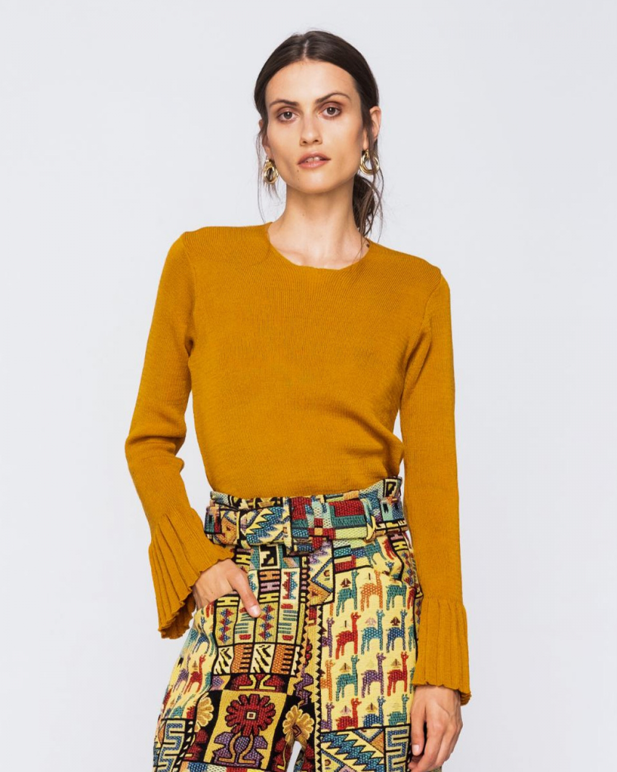 Knitted Mustard Pleated Top
