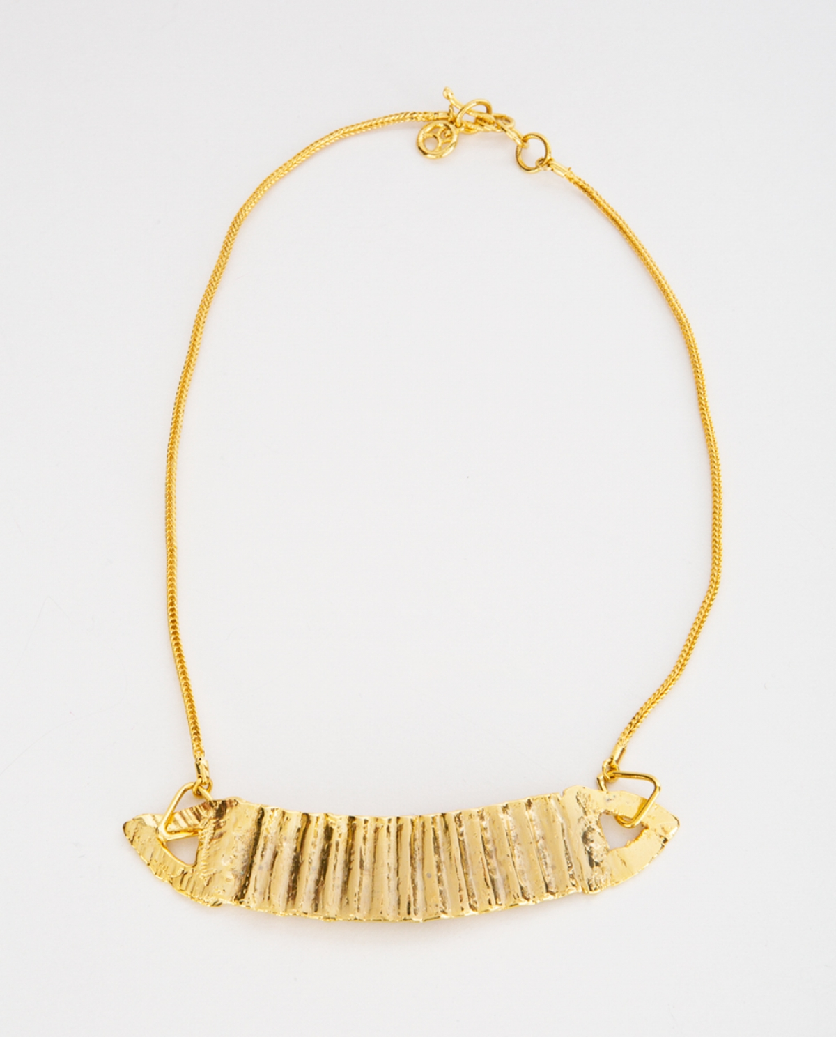 Lace Ribbon Gold-plated Silver Necklace