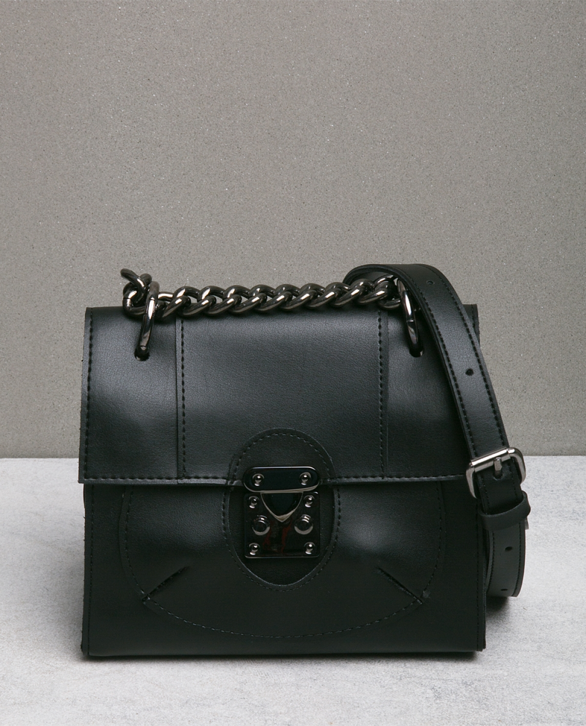 'Lady' Black Leather Shoulder Bag