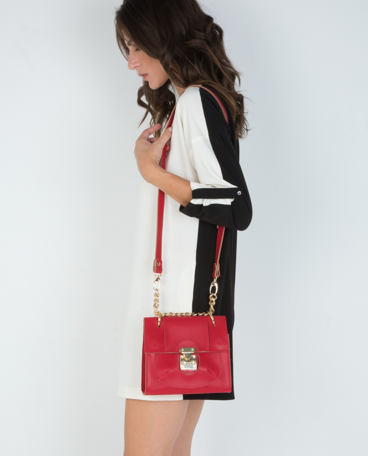'Lady' Crimson Leather Shoulder Bag