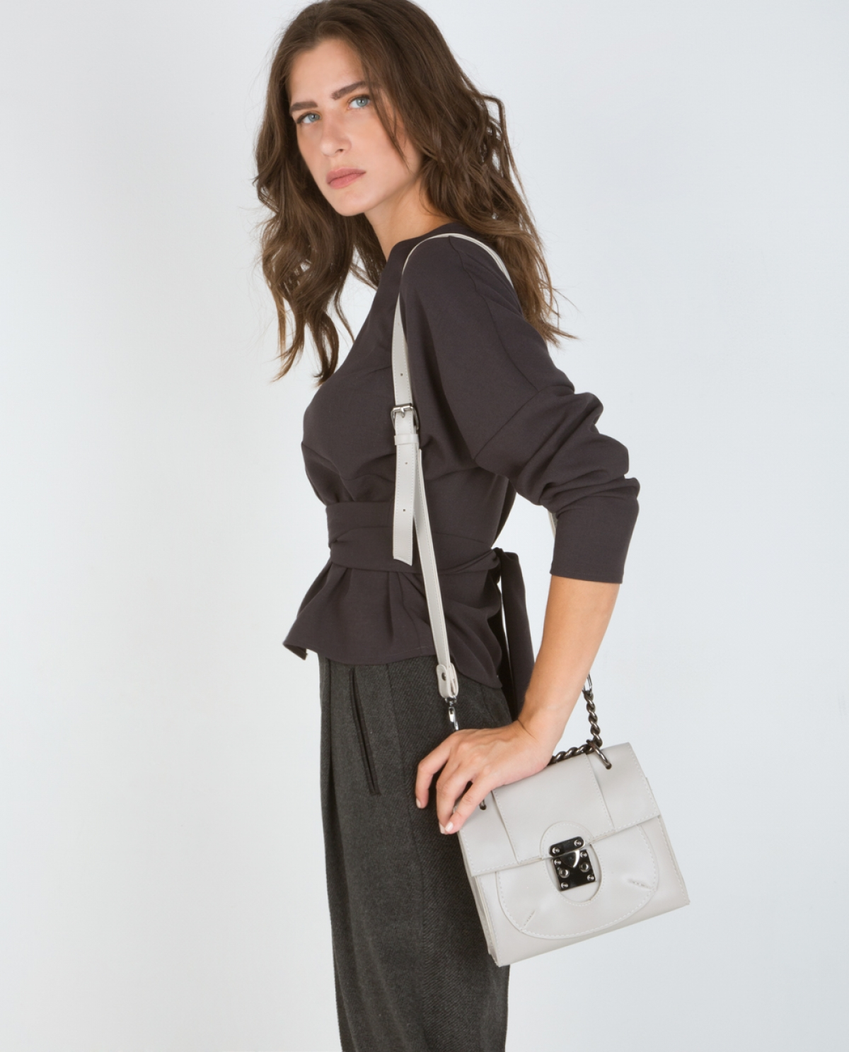 LADY' Grey Leather Shoulder Bag