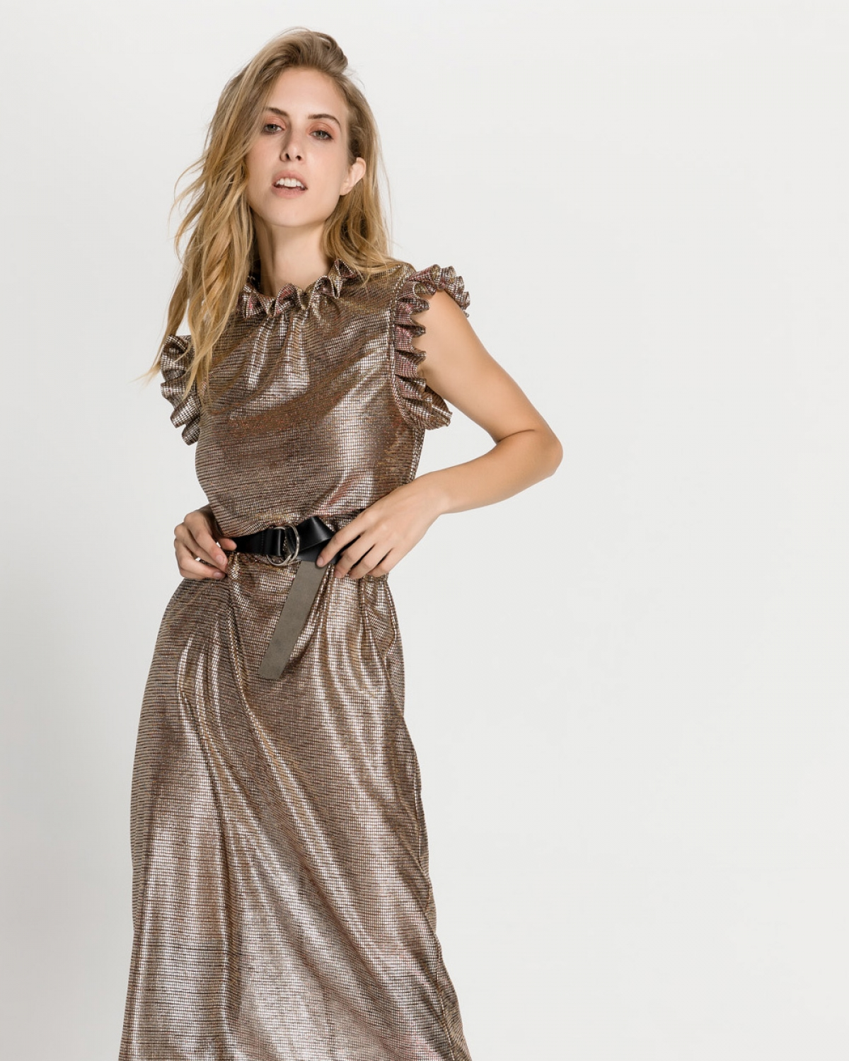 Lari Metallic Gold Dress