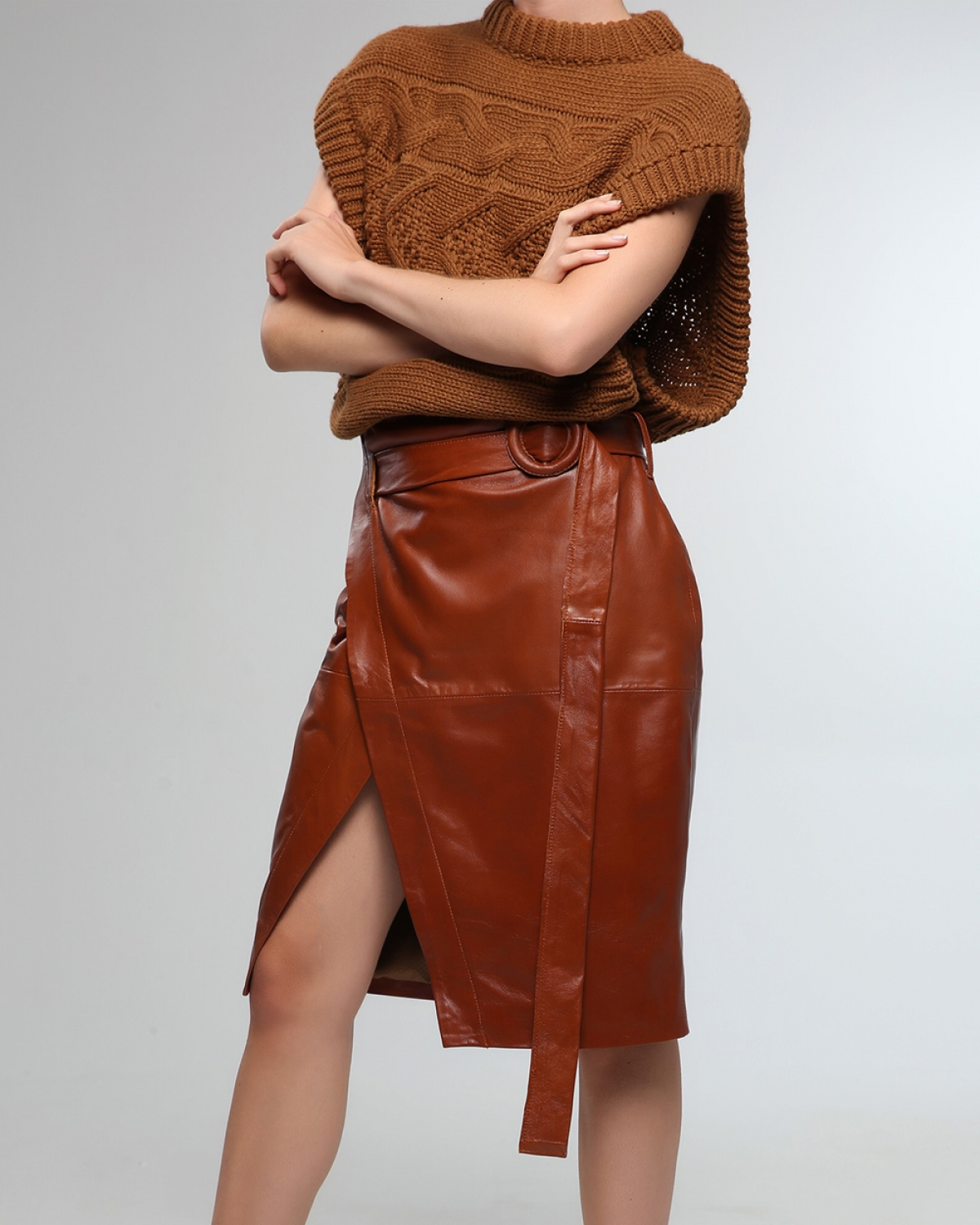 Leather Wraparound Tabac Skirt