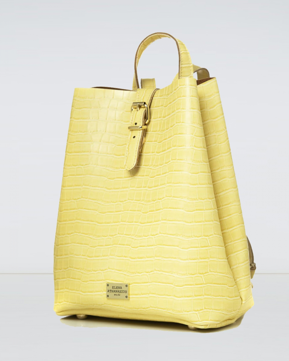 Lemon Croco Pattern Backpack