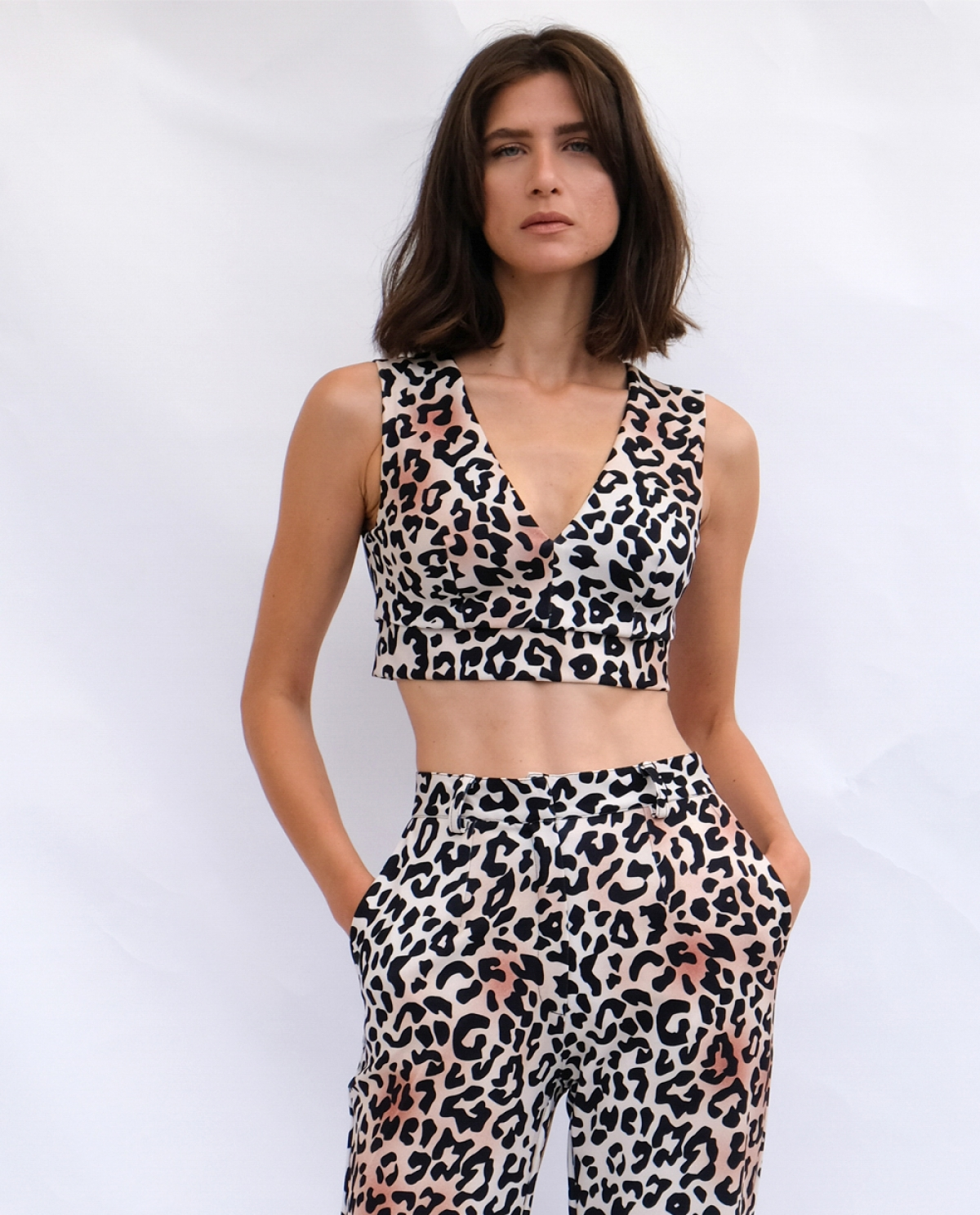 Leopard-print Crop Top