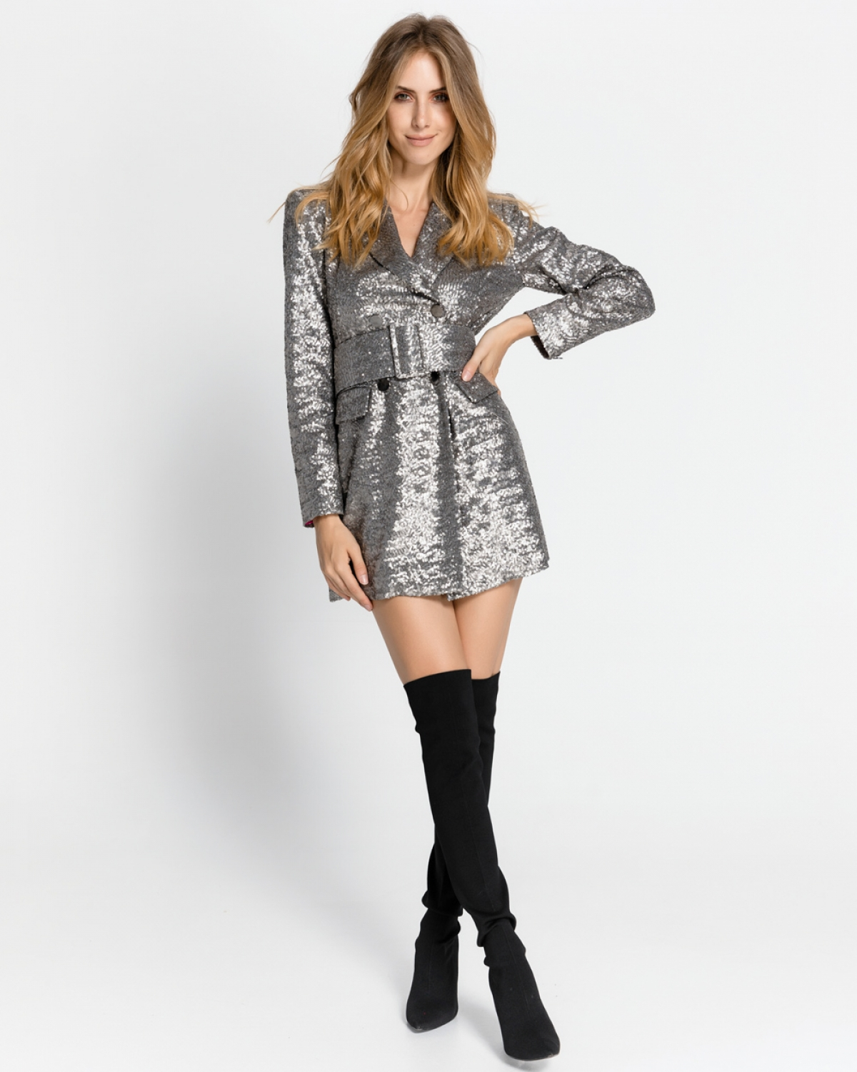 Silver Sequined Blazer Dress