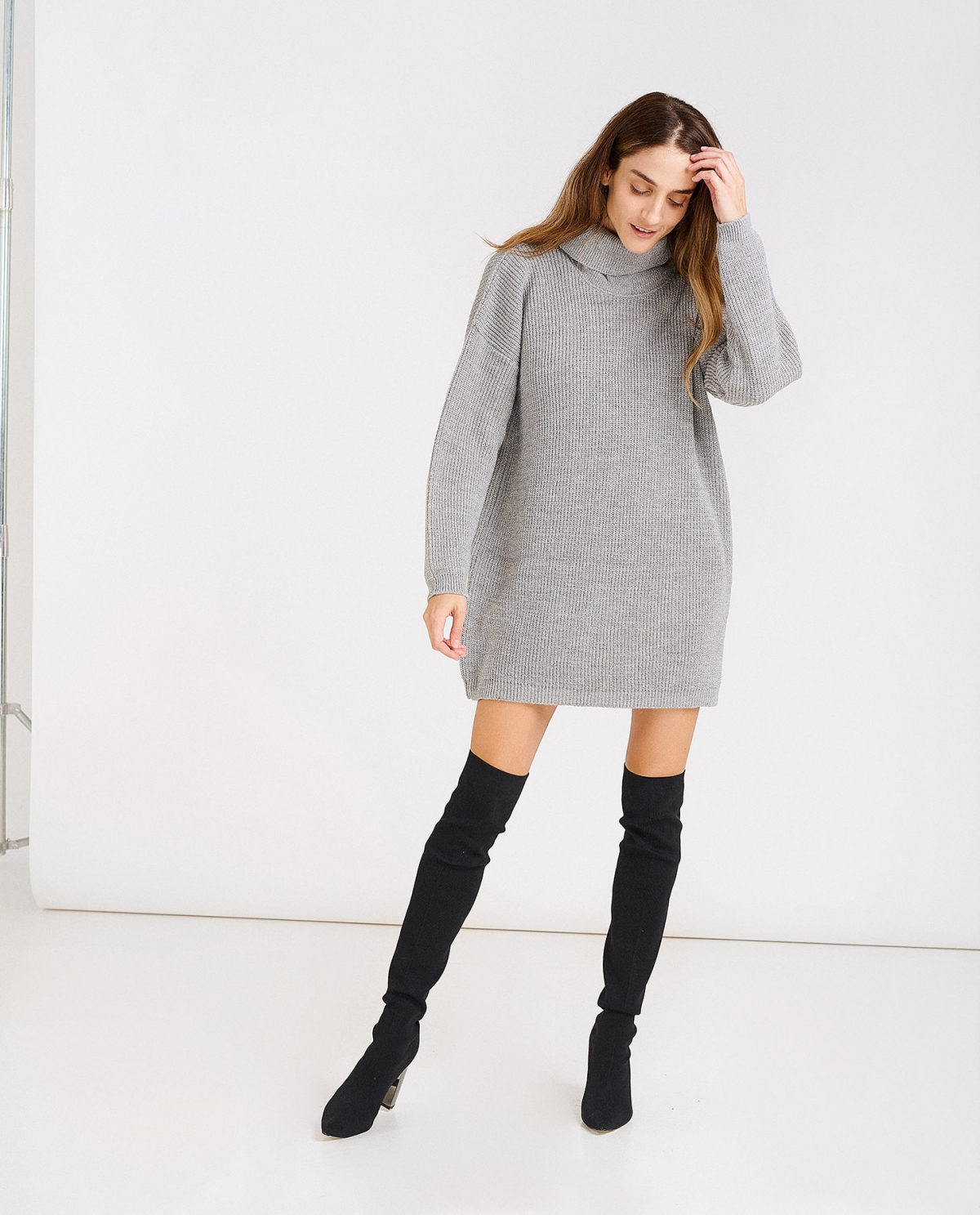 Loose Turtleneck Grey Lurex Sweater