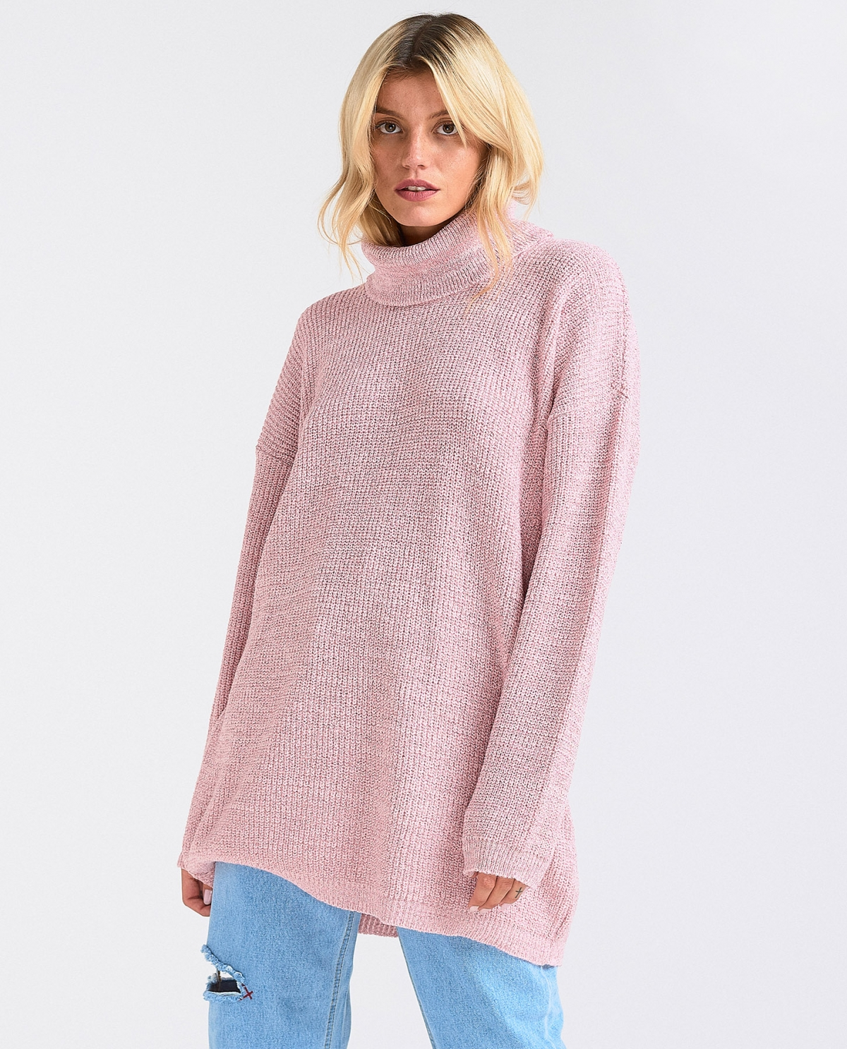 Loose Turtleneck Pink Lurex Sweater