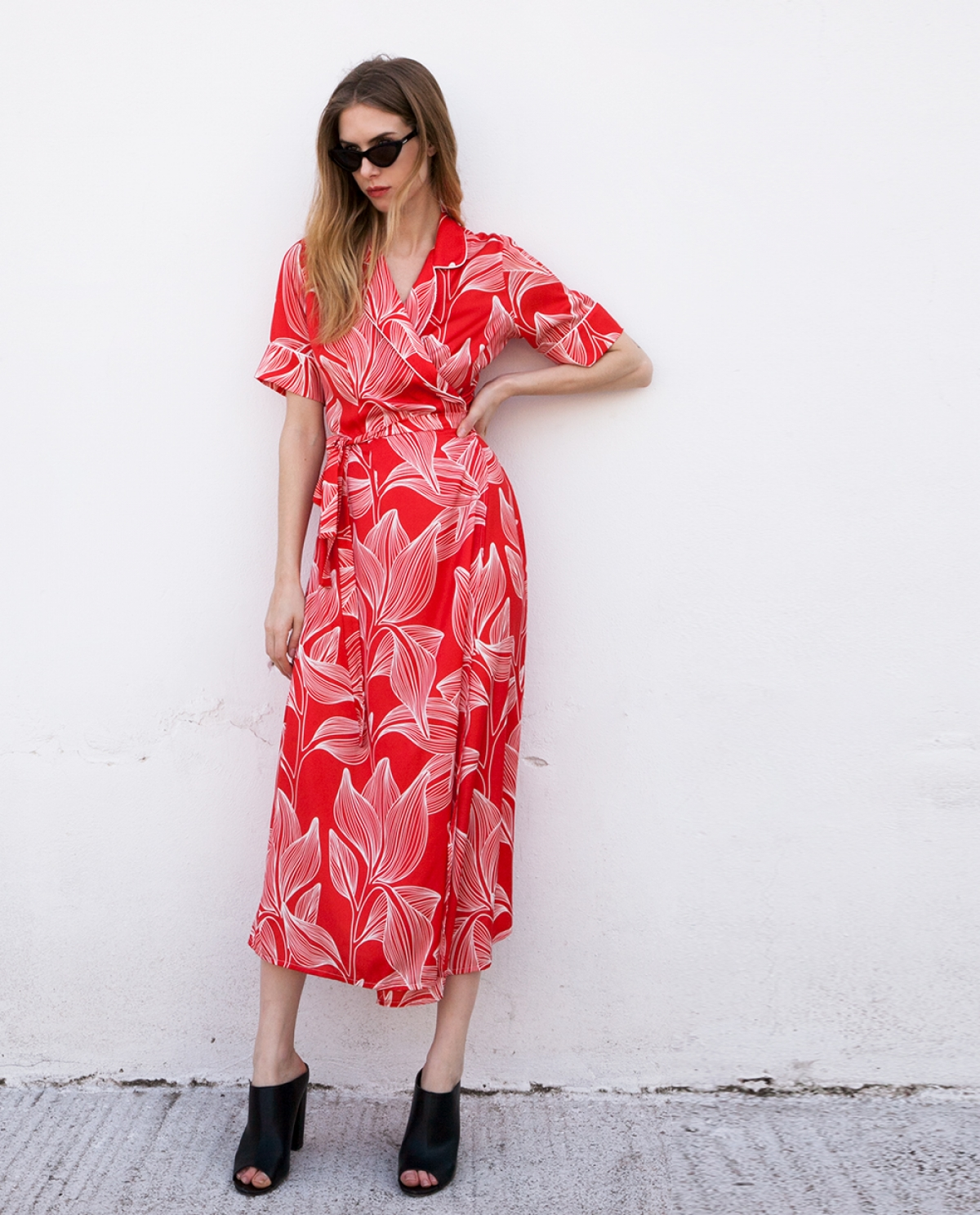Lotus Wrap-effect Floral Midi Dress