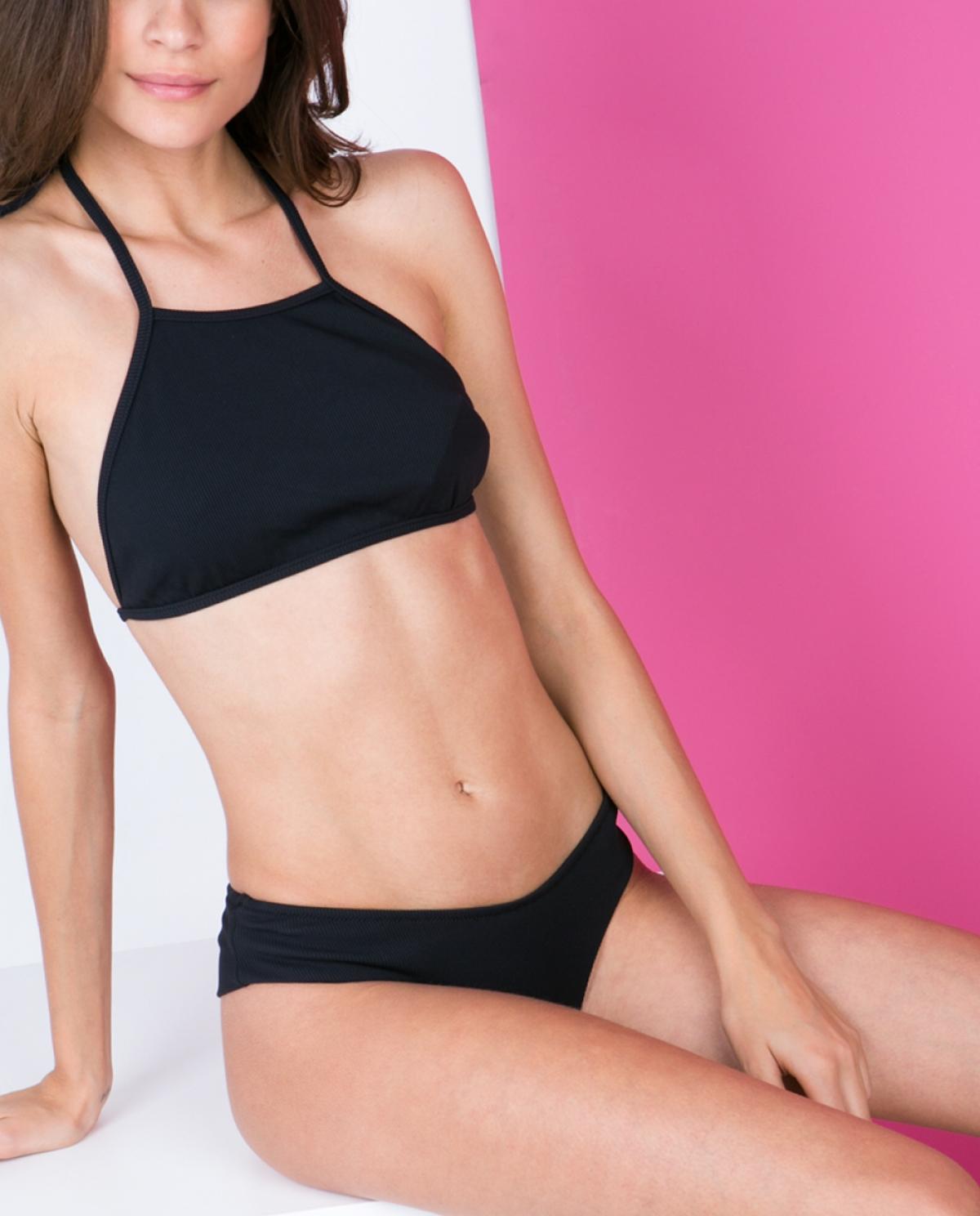 Lulu Black Ribbed Bikini