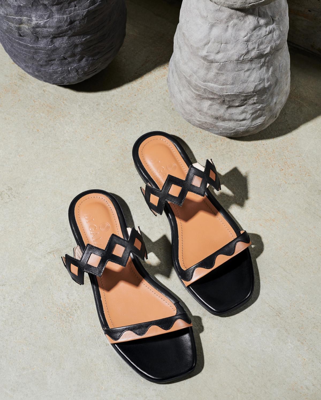 LULU Brown Black Sandals
