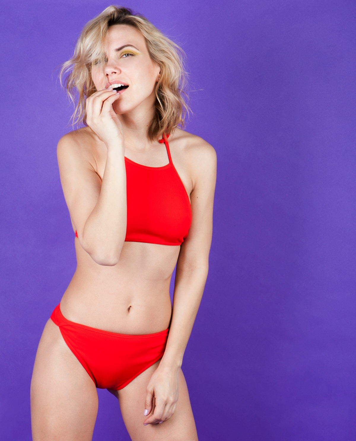 Lulu Red Ribbed Bikini