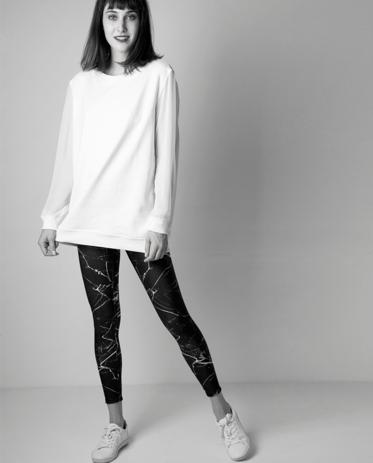 Marble White Leggings