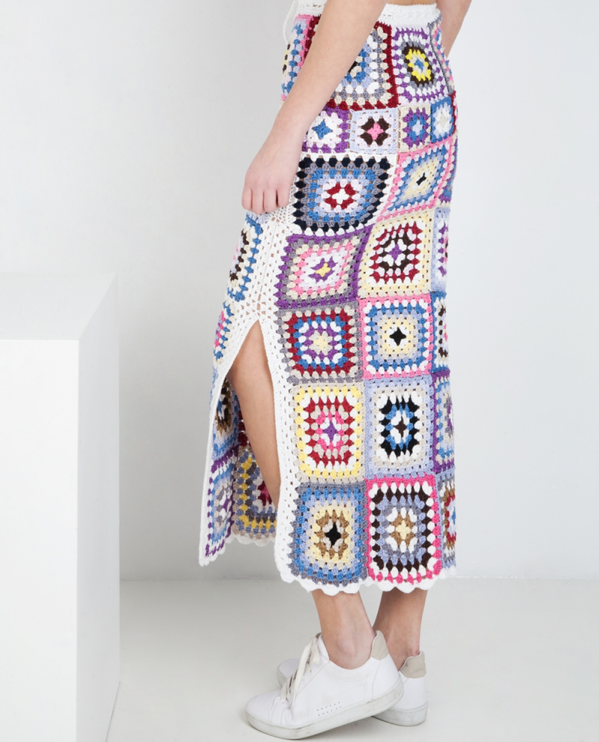 Mare Multicolour Crocheted Midi Skirt