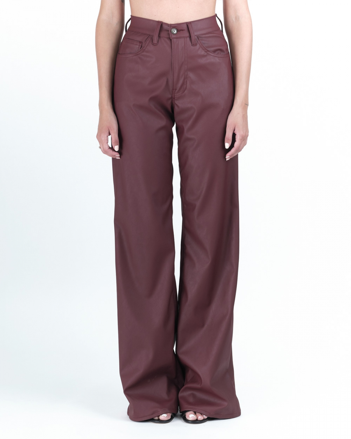 Marissa Bordeaux Faux-Leather Trouser