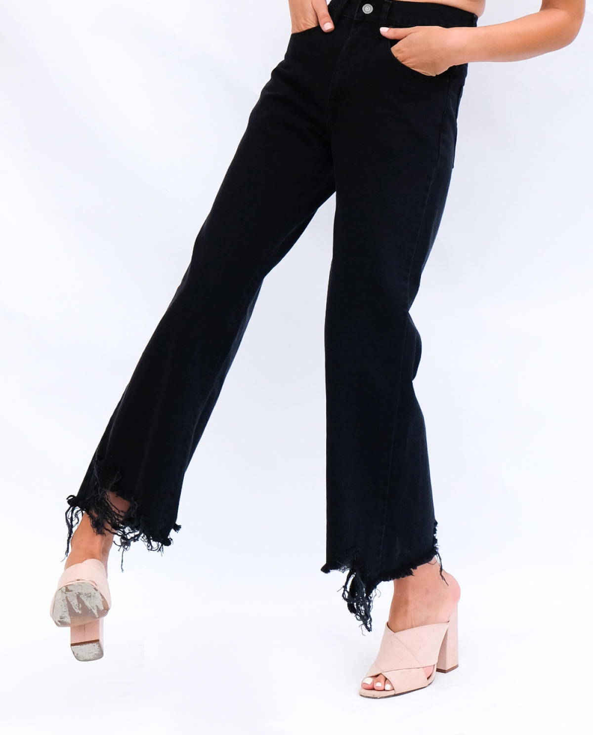 Marissa Black Cropped Wide-leg Jeans