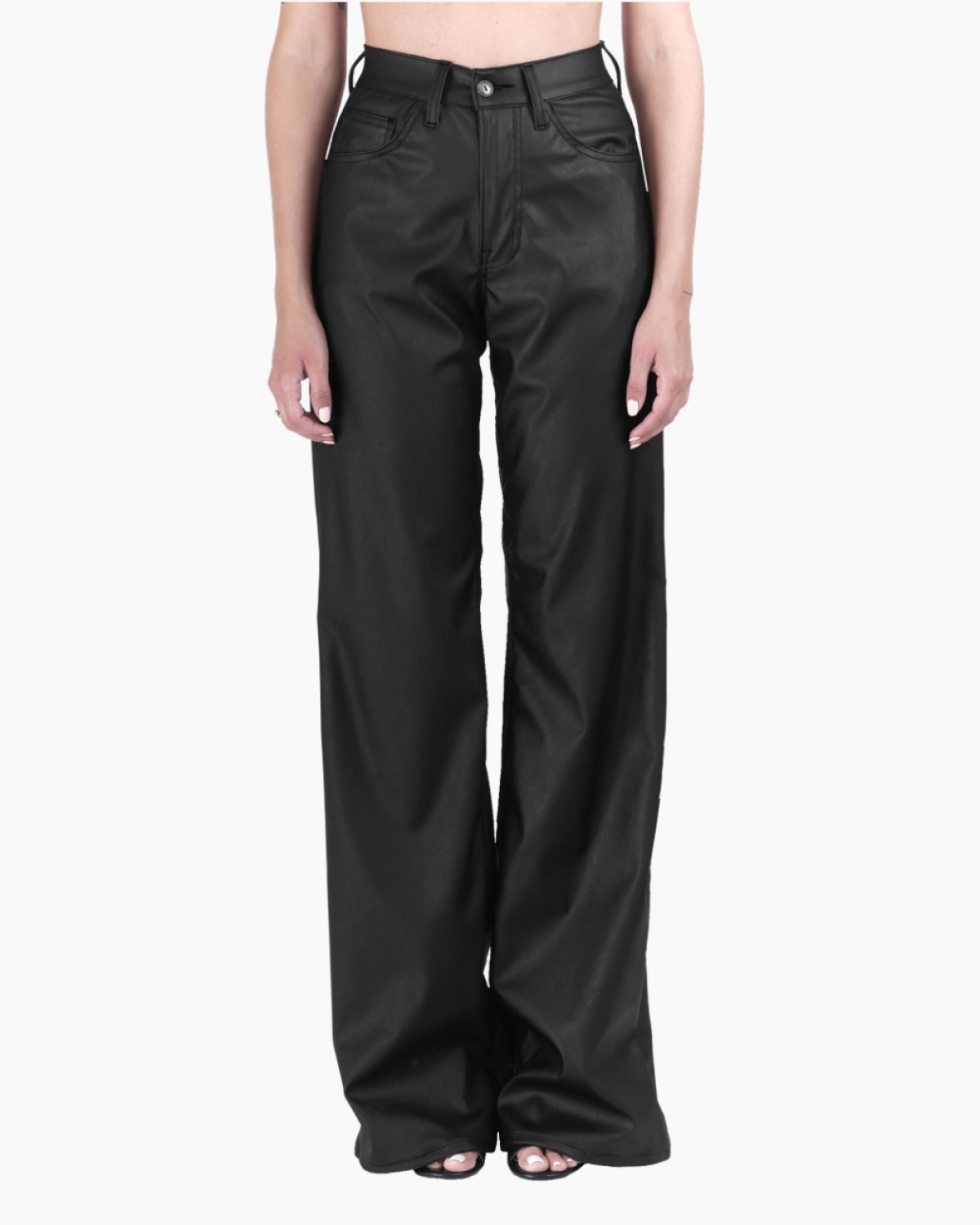Marissa Black Faux-Leather Trouser