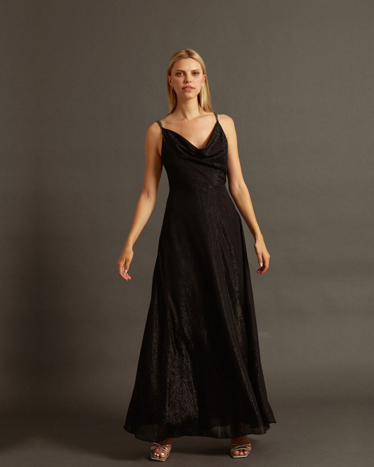 Maxi Black Dress With Silver Chain