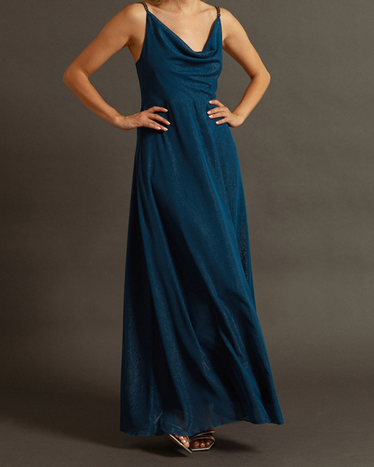 Maxi Blue Dress With Silver Chain