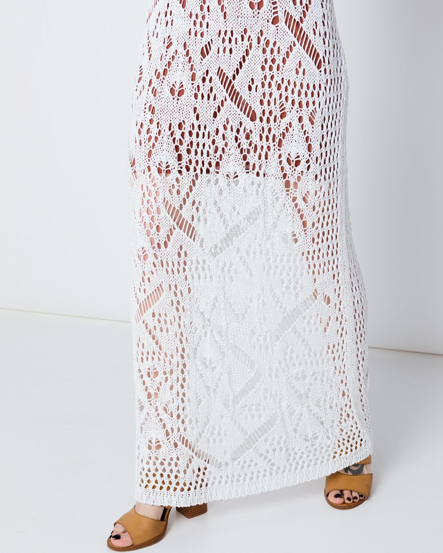 Maxi White Crochet Skirt