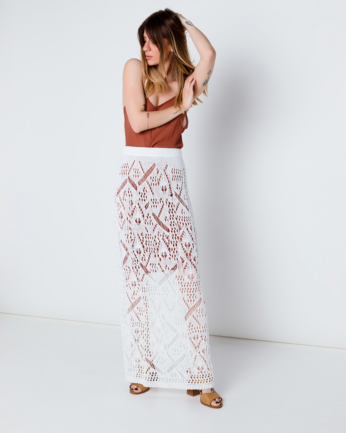 Maxi White Crochet Skirt