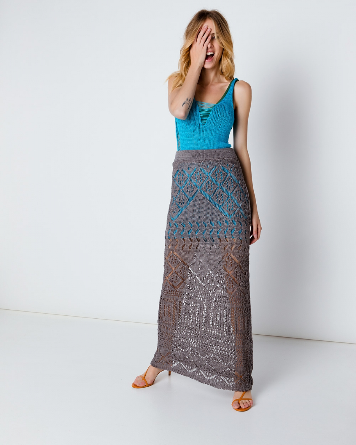 Maxi Grey Crochet Skirt