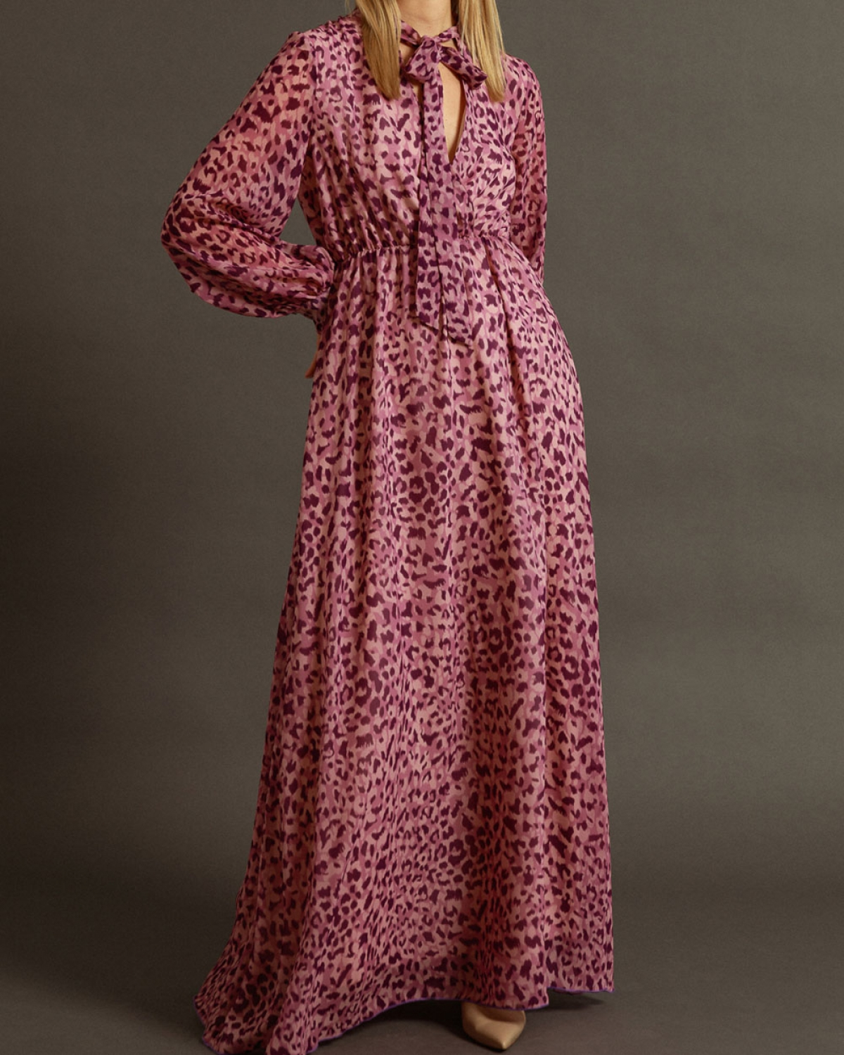 Maxi Printed Dress With Purple Elements