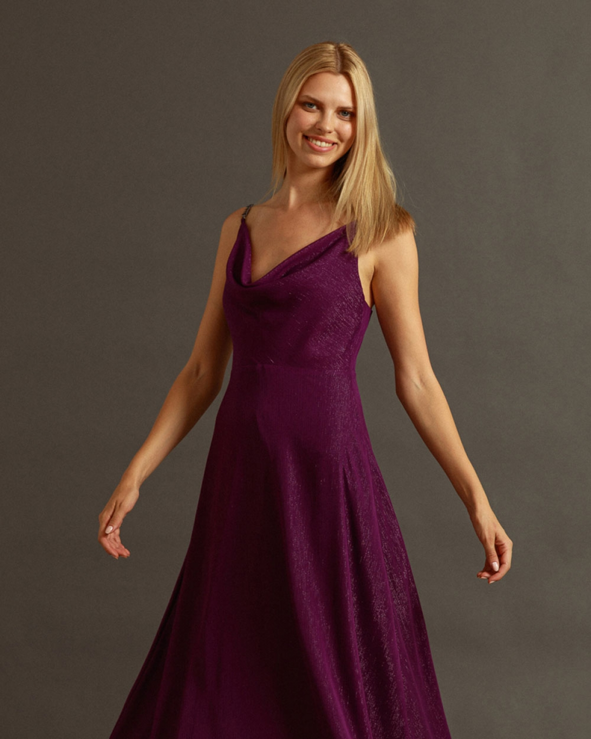 Maxi Purple Dress With Silver Chain