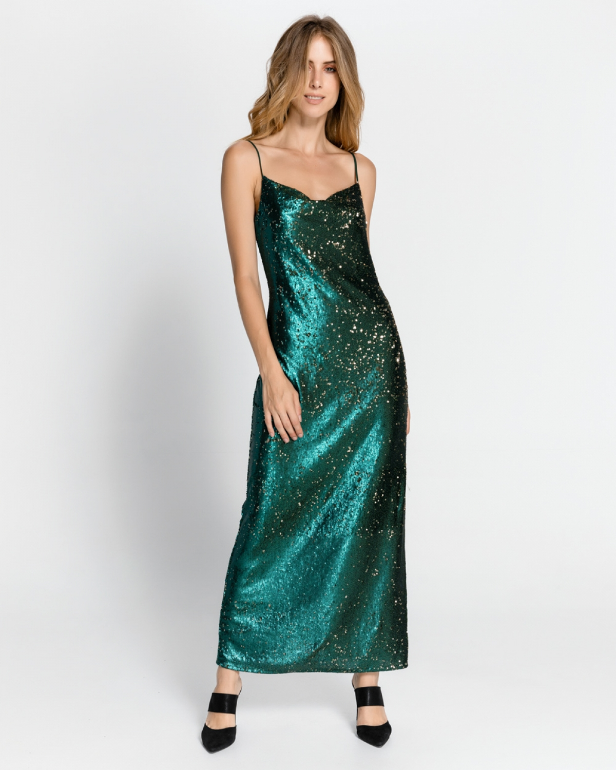 Maxi Sequined Emerald Dress