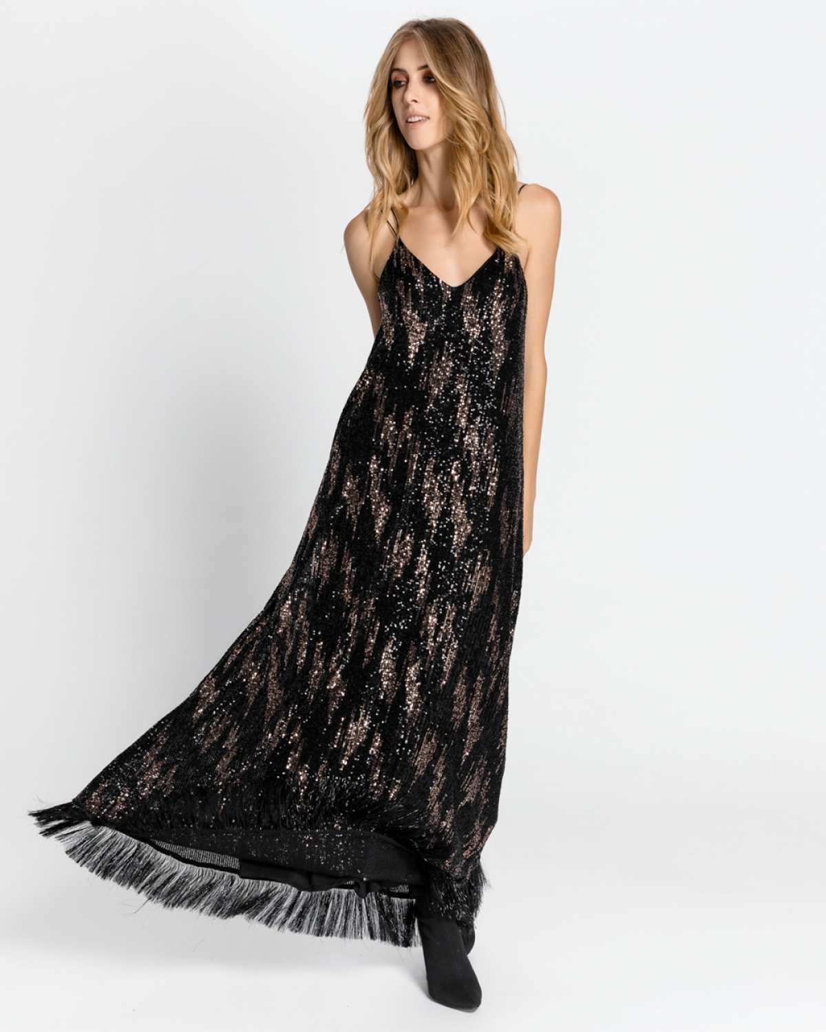 Maxi Sequined Frayed Bronze Dress