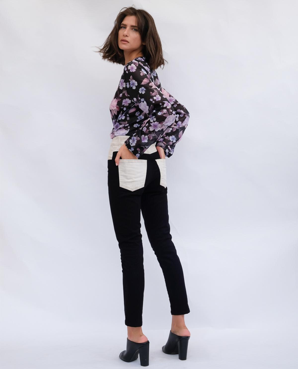Melina Black and White Skinny Jeans