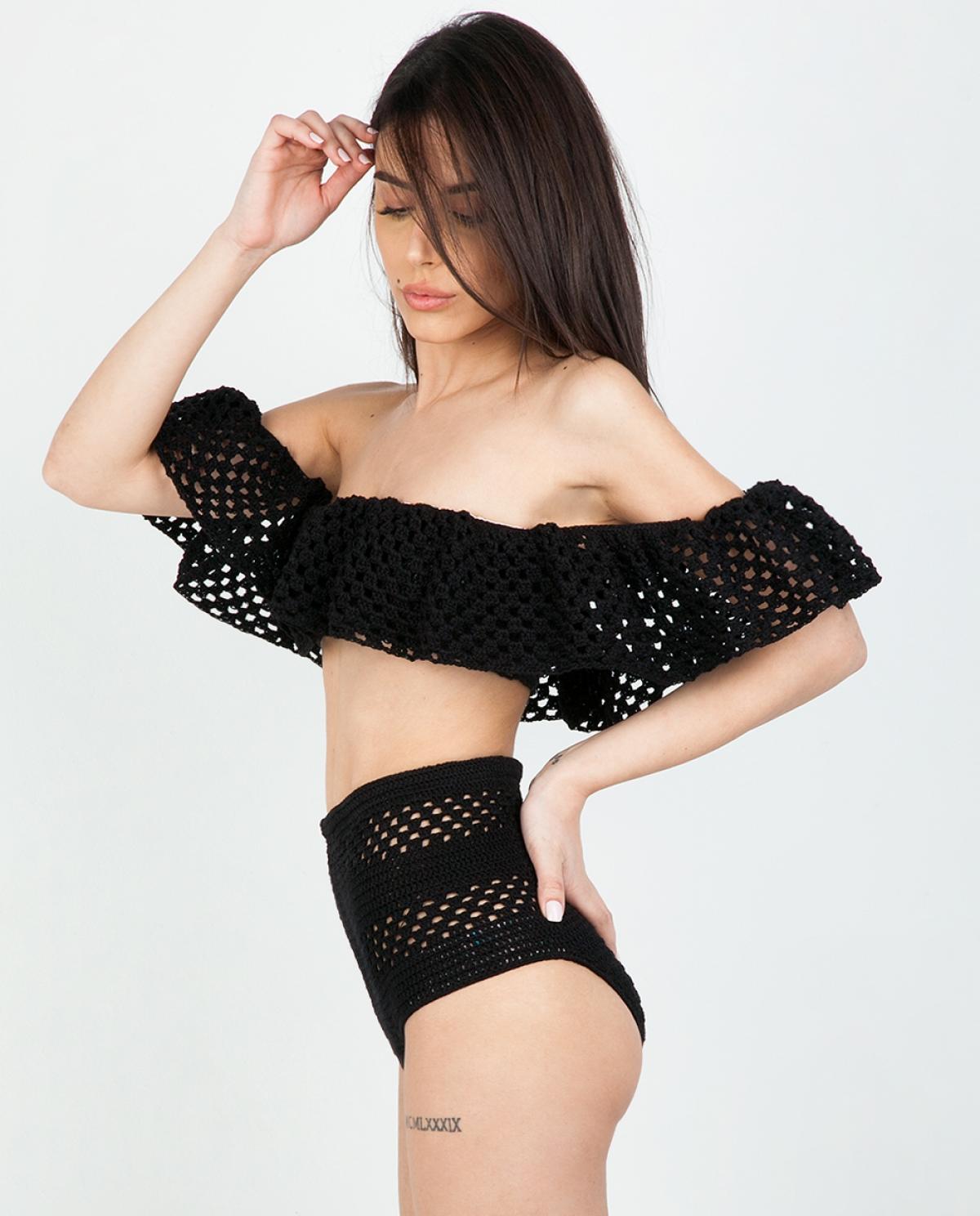 Melissa Off-Shoulder Crochet Black Bikini