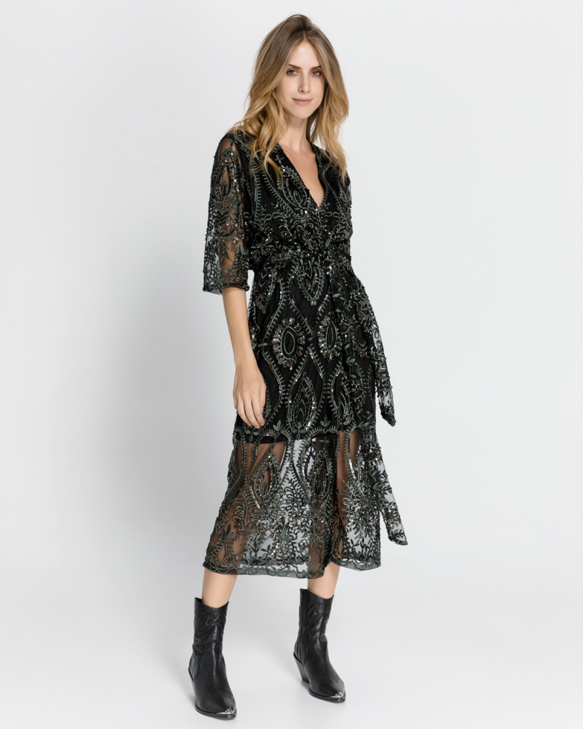 Midi Sequined Embroidery Black-Green Dress